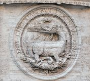 Heraldic salamanders on the facade of Church of St Louis of the French, Rome Royalty Free Stock Image