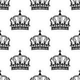 Heraldic seamless pattern with black royal crowns Stock Images