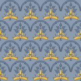 Heraldic seamless pattern with crown. Stock Images