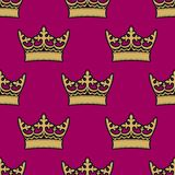 Heraldic seamless pattern with royal crowns Royalty Free Stock Photo