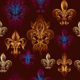 Heraldic seamless wallpaper pattern Stock Images