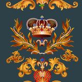 Heraldic seamless wallpaper pattern with fleur de lis and crowns Royalty Free Stock Photo