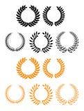 Heraldic set of foliate and laurel wreaths Royalty Free Stock Image