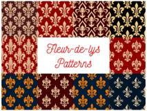 Heraldic set of french fleur-de-lis patterns Royalty Free Stock Images