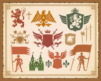 Heraldic set with lions, knights, crowns Stock Photography