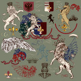 Heraldic set of vector design elements in vintage style Royalty Free Stock Photo