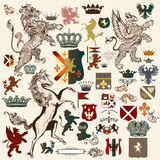 Heraldic set of vector design elements in vintage style Stock Photo