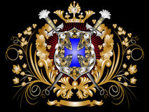 Heraldic shield. With swords, a crown and ornament Stock Photo