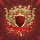Heraldic shield. Abstract floral background with place for your text.Vector illustration in AI-EPS8 format Stock Photography