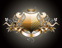 Heraldic shield. Vector illustration of heraldic shield or badge with two lions, crown, banner and floral elements Royalty Free Stock Photo