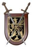 Heraldic shield. Souvenir heraldic shield and two swords royalty free stock photography