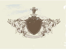 Heraldic shield. An heraldic shield or badge, blank so you can add your own images . Vector illustration Stock Images