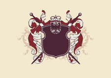 Heraldic shield. An heraldic shield or badge, blank so you can add your own images.  Vector illustration Stock Images