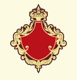 Heraldic shield. Vector Illuctration of Heraldic shield with floral Decorative ornament and crown on the top Stock Image