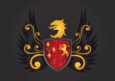 Heraldic Shield. With eagle, wings, fleur de lis and lion Stock Photo