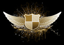 Heraldic shield. Vector illustration of golden winged heraldic shield or badge with banner, perfect for you to place your text Royalty Free Stock Photo