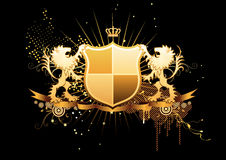 Heraldic shield. Vector illustration of golden heraldic shield or badge with banner and two lions Royalty Free Stock Image