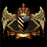 Ornamental heraldic shield. Highly realistic illustration. Stock Photos