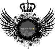 Heraldic shield or badge with crown , blank Stock Photo