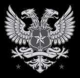 Double Headed Heraldic Eagle Crest. Heraldic Shield Crest with two-headed Germanic Eagle Stock Photography