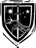 Heraldic Shield Dragon Slaying. Woodcut style Heraldic Shield with a dragon impaled on a sword Royalty Free Stock Photography