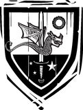 Heraldic Shield Dragon and Sword Stock Photo