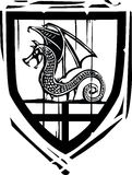 Heraldic Shield Dragon Stock Photo