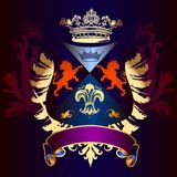 Heraldic shield with golden wings, crown and ribbon Stock Images
