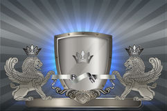 Heraldic shield with heraldic beast. Royalty Free Stock Photography