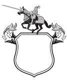 Heraldic knights shield. Heraldic shield with jousting knight and copy space, white background Stock Photo