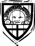Heraldic Shield Sun Face Royalty Free Stock Photo