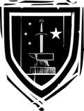 Heraldic Shield Sword and Anvil Stock Photography