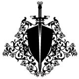 Heraldic shield and sword among roses vector design. Heraldic shield and sword among rose flowers - black and white vector design Royalty Free Stock Photos