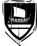 Heraldic Shield Viking Longship Stock Images