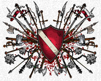 Heraldic shield and weapons Stock Photography