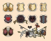 Heraldic shield and weapons Royalty Free Stock Photo