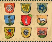 Heraldic Shields. Isolated on light background.  Additional  format Illustrator 8 eps Stock Photo