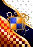 Heraldic shields on a rich background. (Vector) royalty free stock images
