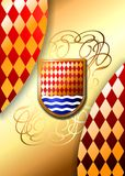 Heraldic shields on a rich background. (Vector) royalty free stock photos