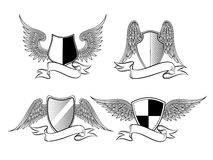 Heraldic shields with wings Royalty Free Stock Photo