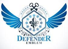 Heraldic sign created using vector elements, heraldry winged   Stock Image