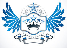 Heraldic sign created with vector elements like monarch crown   Stock Photography