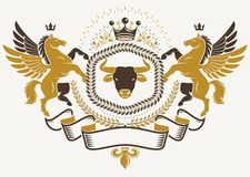 Heraldic sign created with vector elements like mythic Pegasus, Stock Photography