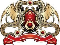 Heraldic Sign. Golden Dragon Stock Photography