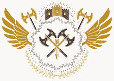 Heraldic sign made using vector vintage elements, bird wings and. Armory Royalty Free Stock Images