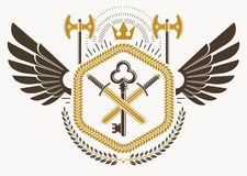 Heraldic sign made using vector vintage elements, bird wings and. Hatchets Royalty Free Stock Photo
