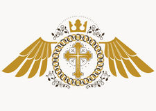 Heraldic sign made using vector vintage elements, bird wings, re Stock Photography