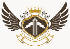 Heraldic sign made using vector vintage elements, eagle wings an Stock Images