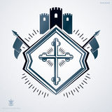 Heraldic sign made using vector vintage elements, medieval tower Stock Photo