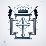Heraldic sign made using vector vintage elements, religious  Stock Image